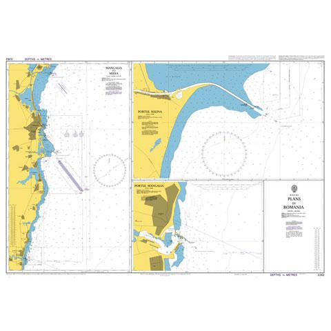 Admiralty Seyir Haritası 2282 - Plans in Romania (Mangalia, Sulina, Midia)