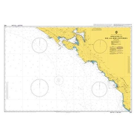 Admiralty Seyir Haritası 1582 - Bar Çevresi ve Kotor Körfezi