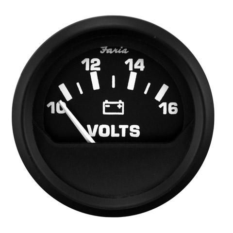 Faria Euro Voltmetre 10-16V - Siyah