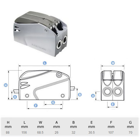 Lewmar Superlock D2 Double Halat Kilidi - 10-12mm.