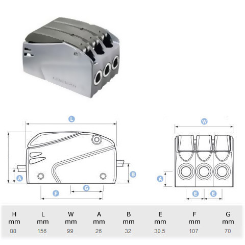Lewmar Superlock D2 Triple Halat Kilidi - 10-12mm.