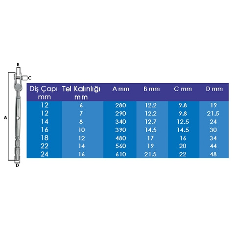CD Mafsallı ve Terminalli Liftin 26mm.
