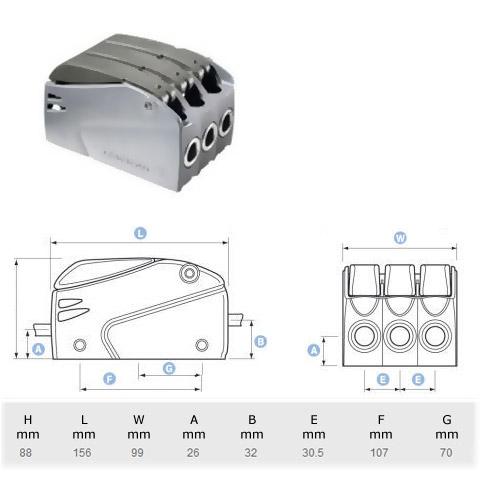 Lewmar Superlock D2 Triple Halat Kilidi - 8-10mm.