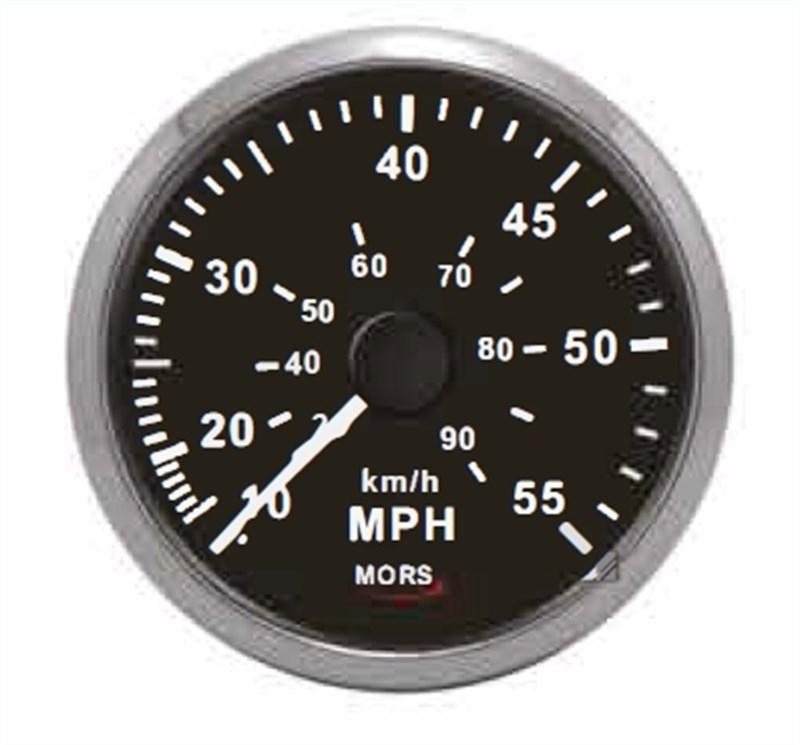 Mors Sürat Göstergesi 12-24V - 55 mph. - Siyah