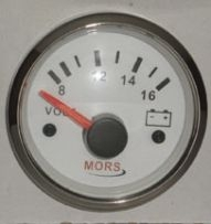 MORS Voltmetre 12V - Beyaz Kadranlı