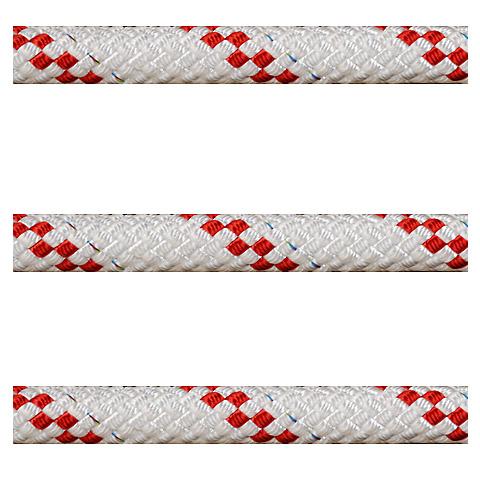 Polyropes Poly-Braid 24 Iskota Halatı 6mm. Beyaz-Kırmızı