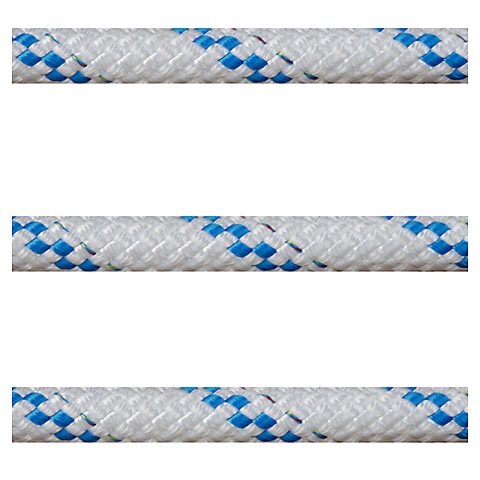 Polyropes Poly-Braid 24 Iskota Halatı 6mm. Beyaz-Mavi