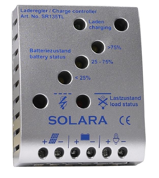 SR135TL Şarj regülatörü, LED göstergeli, 135 WP, 12/24V, 8A