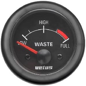 Vetus Pis Su Tankı Seviye Göstergesi 12V -  Siyah Kadranlı